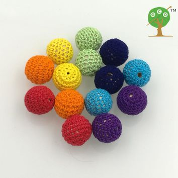 DIY beading rainbow color Chunky wooden crochet beads teething 20mm round beads, rainbow nursing jewelry 14PCS pattern WC061