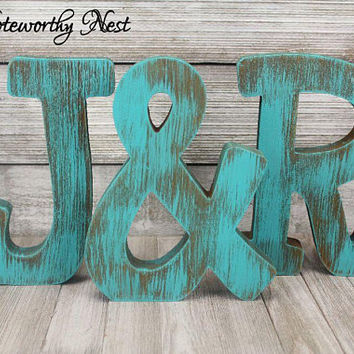 ANY COLOR Standing Wood Letters  / Ampersand / A B C D E F G H I J K L M N O P Q R S T U V W X Y Z / Farmhouse Decor / Rustic Initial
