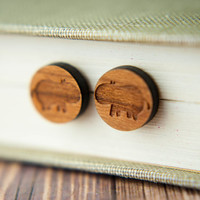 Hippopotamus Wood Studs, Laser Cut Wood Earrings