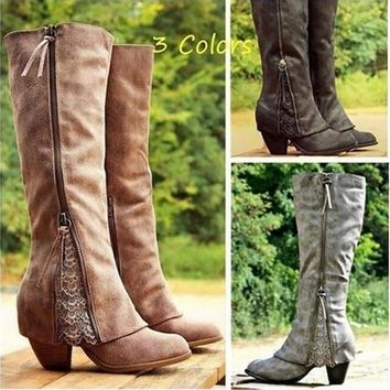 Fashion Women Riding Boots Fold Over Design Near The Ankle With Lace Detailing At Edge