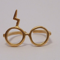 Harry Potter ring Lightning glassesSilver gold by thinkupjewel