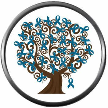 Ovarian Cancer Teal Ribbon Tree Support Awareness Believe Find Cure 18MM - 20MM Snap Jewelry Charm