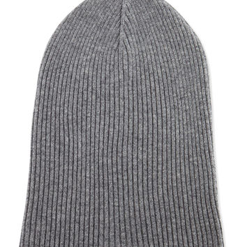 Cashmere Ribbed Hat w/Foldover Brim, Gray/Oatmeal, Size: