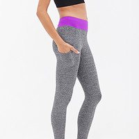 FOREVER 21 Side Pocket Yoga Leggings Charcoal/Purple