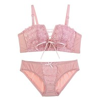Top Embroidery Bra Sets Push UP Bra And Lace Floral Panties Pink White Black Fashion Intimates Underwear