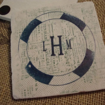 Monogram Personalized Coaster with Newspaper Background Family Reunion Wedding Party Nautical Favors Stone Tile Home Decor Plaque Gifts