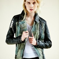 Free People Patched Vegan Moto Jacket