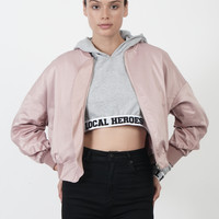 Wave Bomber Jacket in Pink