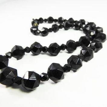 Victorian Whitby Jet Beaded Necklace Carved Faceted Graduated Beads Sterling Clasp Vintage 1880 Antique Gothic Black Beaded Mourning Jewelry