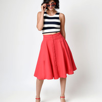 Collectif Retro Style Red High Waist Button Nani Swing Skirt