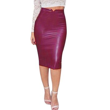 Hot Red Faux Leather Bodycon Midi Pencil Skirt