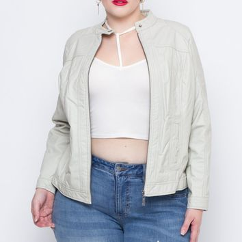 Plus Size Faux Leather Bad Girl Jacket - Ivory