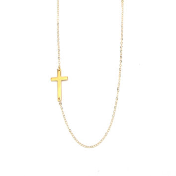 Large Sideways Cross Necklace