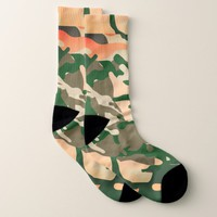 Pink and Green Camouflage Pattern Socks