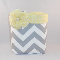 Gray and White Chevron Fabric Basket With Yellow Polka Dot Liner And Detachable Fabric Flower Pin For Storage Or Gift Giving
