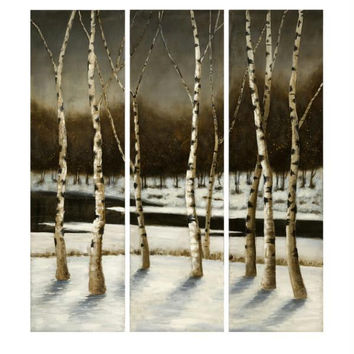 3 Oil Paintings - Birch Tree