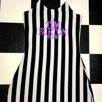 SWEET LORD O'MIGHTY! A TIM BURTON SKINNY DRESS IN STRIPES
