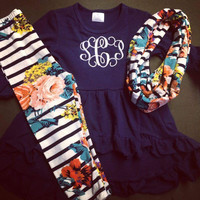 In Stock - Navy top Floral 3 piece scarf  set