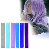 SKY | A pack of 6 Hair Chalks for your highly vibrant hair coloring - silver, light blue, lilac, steel blue, royal & navy!