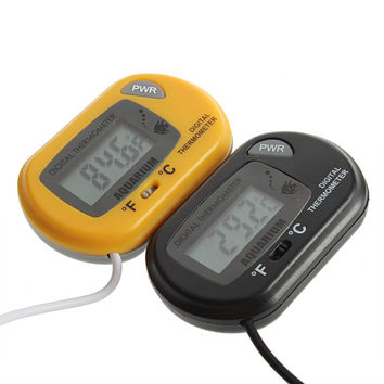 1pc NEW Digital LCD Fish Home Aquarium Terrarium Marine Thermometer Yellow Free Shipping