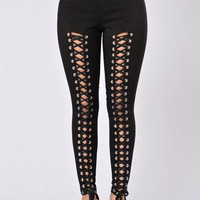 High Waisted Lace Up Front Skinny Leg