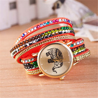 Womens Girls Unique Casual Ethnic Elephant Leather Strap Watch Best Christmas Gift Watch-445