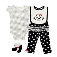 Baby Gear Animal Bodysuit Set - Baby Girl, Size: