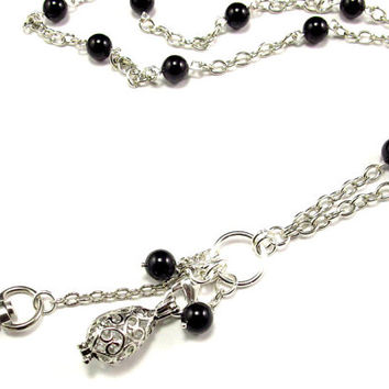 Fashion  ID Badge Lanyard Necklace with Aromatherapy Locket and Pearls