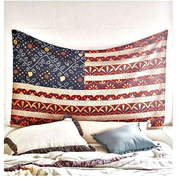 Vintage Gypsy Hippie American Flag Tapestry