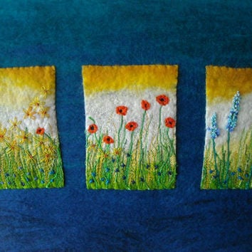 textile art, embroidered floral felt