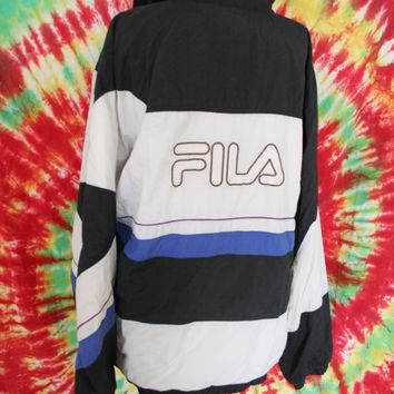 Vintage 90s Fila zip up bomber jacket black and blue embroidered