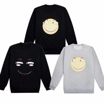 ICIKH6B Cute Emoji Smile Face Hoodie Cosplay Costume Long Sleeve Pullover Thicken Fleeces T-shirt Daily Casual Bottoming shirt