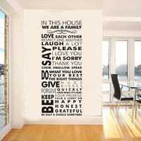 family wall quote decal Family wall decal art wall sayings decal  in this house wall sticker