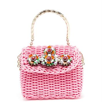 Basket Bag with Swarovski Embellishment - SHOUROUK