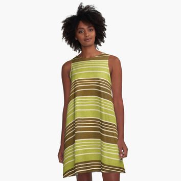 'Green and Brown Vintage Stripe ' A-Line Dress by pugmom4
