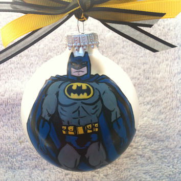 Hand Painted Super Hero Personalized Glass Ornament You Choose Character