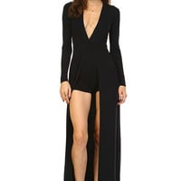 BLACK MODAL V-NECK JUMPSUIT