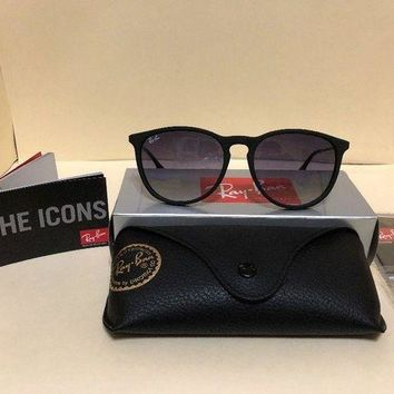 Kalete New Ray-Ban Erika Classic RB4171 622/8G 54 18 Matte Black Frame Sunglasses