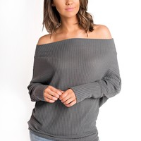True Romance Off The Shoulder Top (Charcoal)