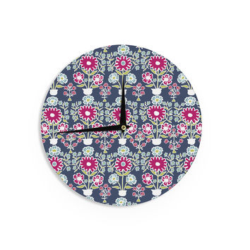 "Laura Nicholson ""Turkish Vase"" Navy Magenta Wall Clock"