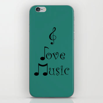 I Love Music - Tribal Teal iPhone & iPod Skin by Moonshine Paradise