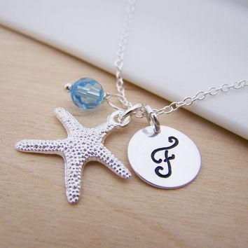Starfish Beach Charm Swarovski Birthstone Initial Personalized Sterling Silver Bridesmaid Necklace / Gift for Her