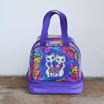 Vintage Lisa Frank Bag Tote Lunch Box 90s Purple with Cats Roxie and Rollie Bag RARE Lisa Frank Collectible