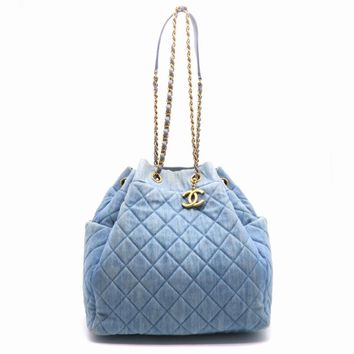 Chanel Quilting Denim Gold Metal Chain Shoulder Bag Blue