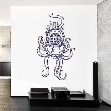 Wall Vinyl Octopus Ocean Old Helmet Sea Marine Mural Vinyl Decal Unique Gift (z3371)