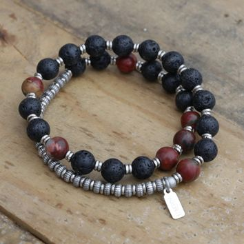 Lava Rock and Picasso Jasper Men's Wrap Bracelet, Sacral Chakra Bracelet