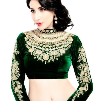 Magnificent Maharana Style Green Velvet Saree Blouse KP-72