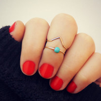rose gold knuckle rings, chevron knuckle rings, turquoise ring, stacking rings, ring set, chevron ring