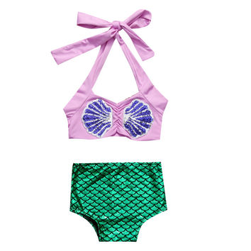 2017 2PCS Baby Girls Toddler Kids Mermaid Halter Shell Sequin Tops+Shorts Summer Clothes Set Sunsuit Outfit Sunset NEW 1-6Y