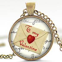 To My Valentine Necklace, Valentines Day Pendant, Vintage Valentines Jewelry, Valentine Love Letter Necklace,Your Choice of Finish (1353)